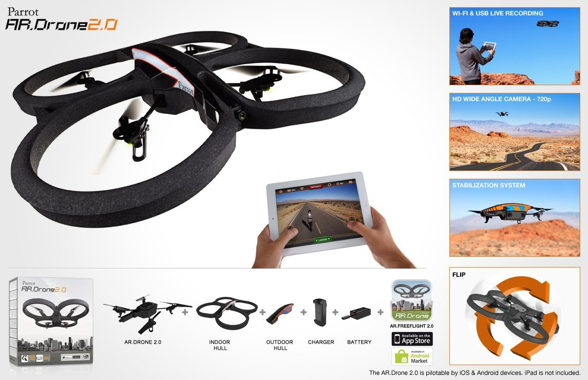 Parrot AR Drone 20 Quadricopter With Replacement Battery