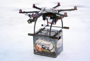 drone delivering beer