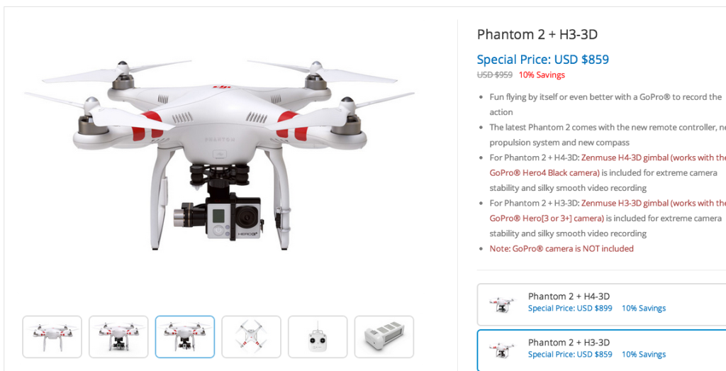Equivalent DJI Phantom 2 H3-3D gimbal drone for sale on the DJI website. Ours is wayyy cheaper!