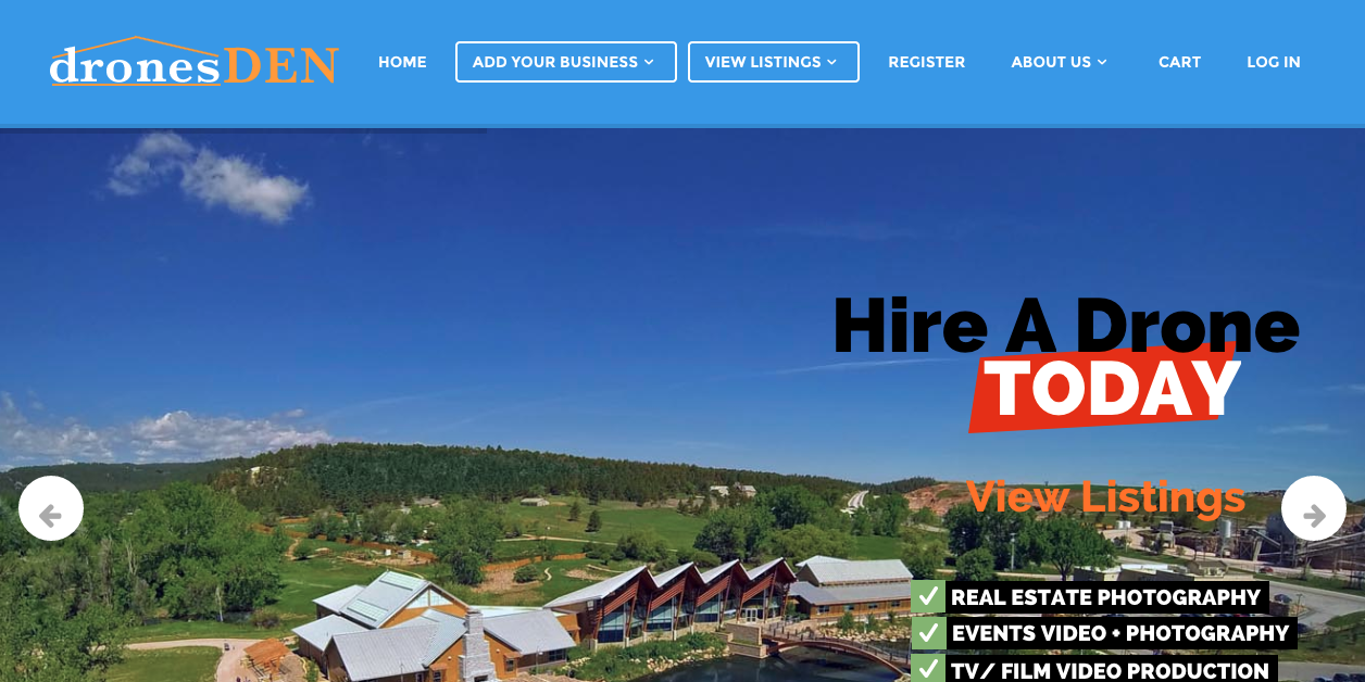 find drone hire businesses screenshot