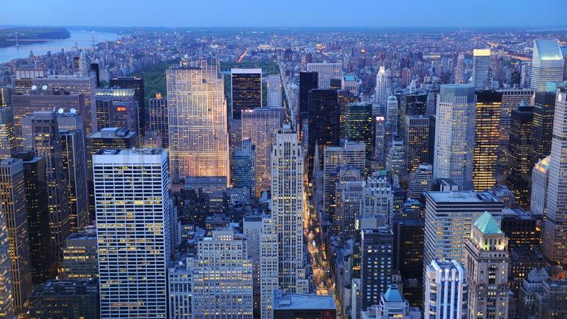 city drone photo